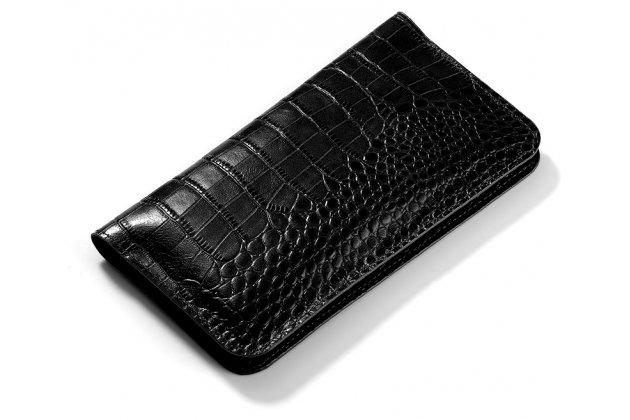 Фирменный чехол-портмоне-клатч-кошелек на силиконовой основе из качественной импортной кожи для HTC U11 Life черный