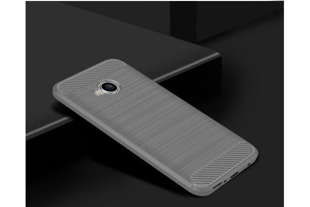 """Задняя панель-крышка из тончайшего мягкого силикона для HTC U11 Life с матовой отделкой """"под карбон"""" серая"""