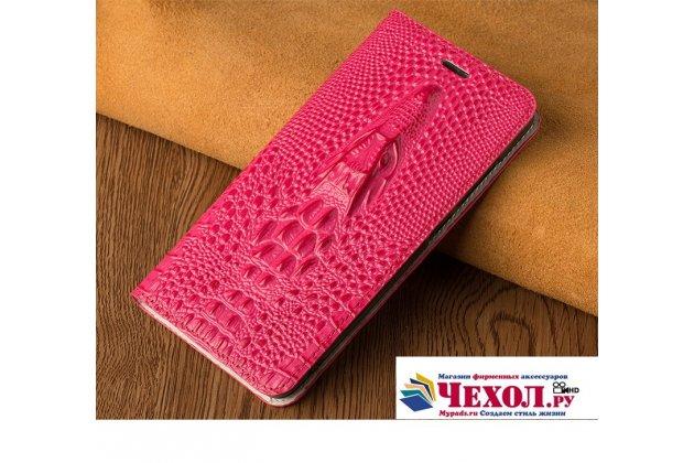 Фирменный роскошный эксклюзивный чехол с объёмным 3D изображением кожи крокодила розовый для HTC U11 Life  Только в нашем магазине. Количество ограничено