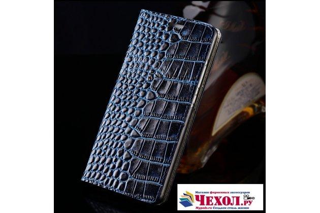Фирменный роскошный эксклюзивный чехол с фактурной прошивкой рельефа кожи крокодила и визитницей синий для HTC U11 Life. Только в нашем магазине. Количество ограничено