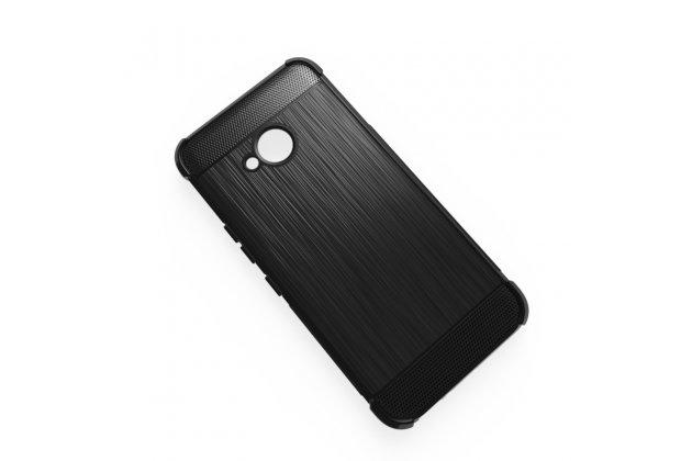 """Задняя панель-крышка из тончайшего мягкого силикона для HTC U11 Life с матовой отделкой """"под карбон"""" черная"""