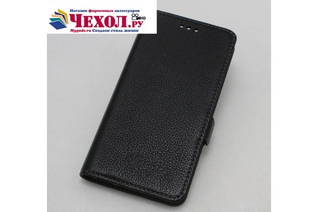 Фирменный оригинальный подлинный чехол с логотипом для HTC U11 Plus из натуральной кожи черный