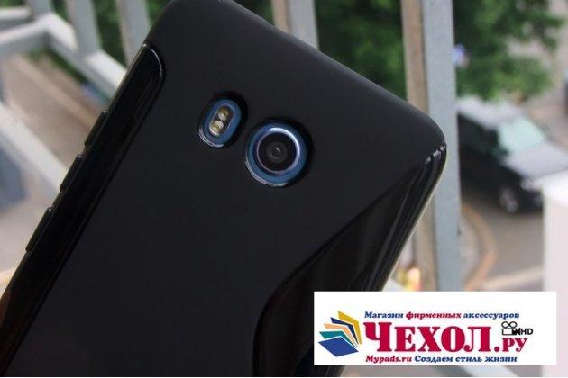 Фирменная ультра-тонкая полимерная из мягкого качественного силикона задняя панель-чехол-накладка для HTC U11 Plus черная