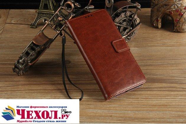 Фирменный чехол-книжка из качественной импортной кожи с подставкой застёжкой и визитницей для HTC U11 Plus коричневый