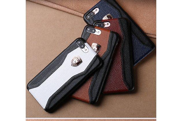 Фирменная роскошная задняя панель-крышка обтянутая импортной кожей для HTC U11 Plus черно-белая