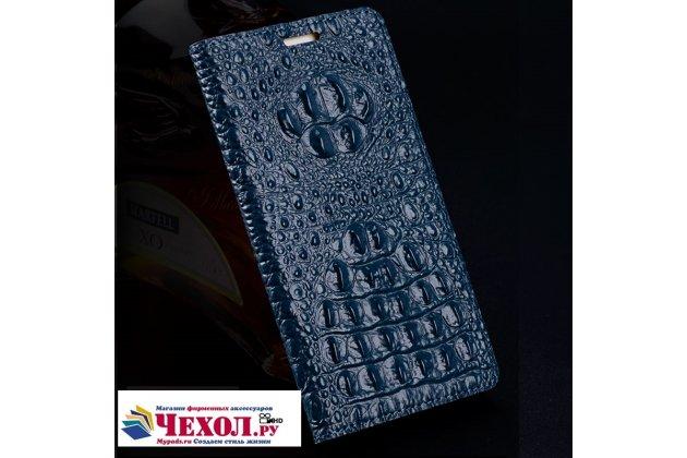 Фирменный роскошный эксклюзивный чехол с объёмным 3D изображением рельефа кожи крокодила синий для HTC U11 Plus . Только в нашем магазине. Количество ограничено
