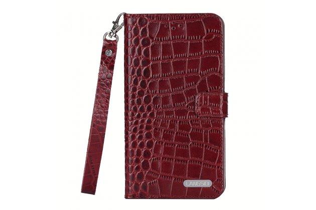 Фирменный роскошный эксклюзивный чехол с фактурной прошивкой рельефа кожи крокодила и визитницей красный для HTC U11 Plus. Только в нашем магазине. Количество ограничено