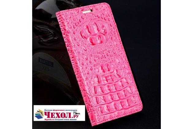 Фирменный роскошный эксклюзивный чехол с объёмным 3D изображением рельефа кожи крокодила розовый для HTC U11 Plus Только в нашем магазине. Количество ограничено