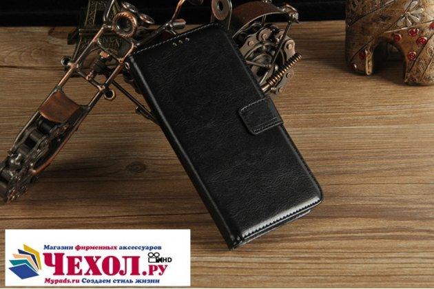 Фирменный чехол-книжка из качественной импортной кожи с подставкой застёжкой и визитницей для HTC U11 Plus черный