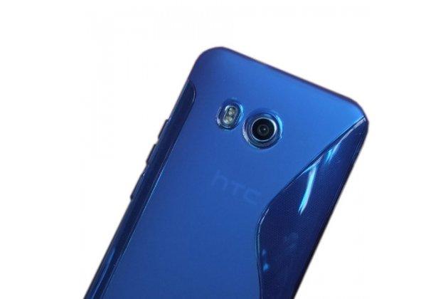 Фирменная ультра-тонкая полимерная из мягкого качественного силикона задняя панель-чехол-накладка для HTC U11 Plus синяя