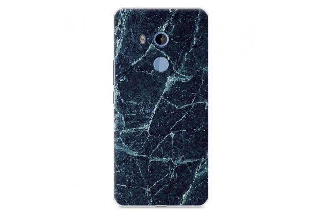 Фирменная из тончайшего прочного силикона задняя панель-крышка-накладка с рисунком под мрамор для HTC U11 Plus  цвет малахит