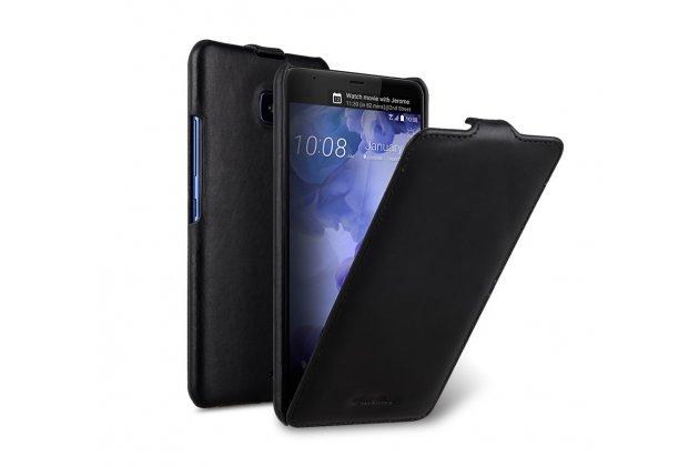 Фирменный оригинальный вертикальный откидной чехол-флип для HTC U11 черный из натуральной кожи Prestige