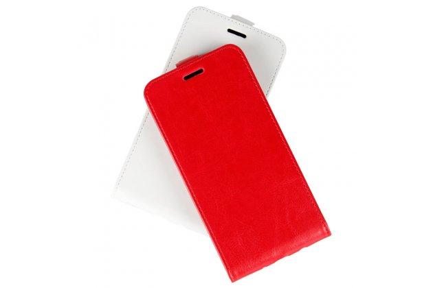 Фирменный оригинальный вертикальный откидной чехол-флип для HTC U11 красный из натуральной кожи Prestige