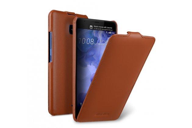 Фирменный оригинальный вертикальный откидной чехол-флип для HTC U11 коричневый из натуральной кожи Prestige