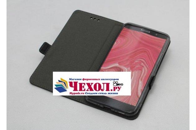 Фирменный оригинальный подлинный чехол с логотипом для HTC U11 из натуральной кожи черный