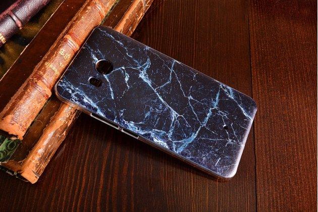 Фирменная из тончайшего прочного пластика задняя панель-крышка-накладка с рисунком под мрамор для HTC U11 цвет малахит