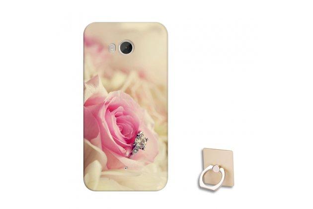 Фирменная роскошная задняя панель-чехол-накладка  из мягкого силикона с безумно красивым расписным 3D рисунком на HTC U11 тематика Роза