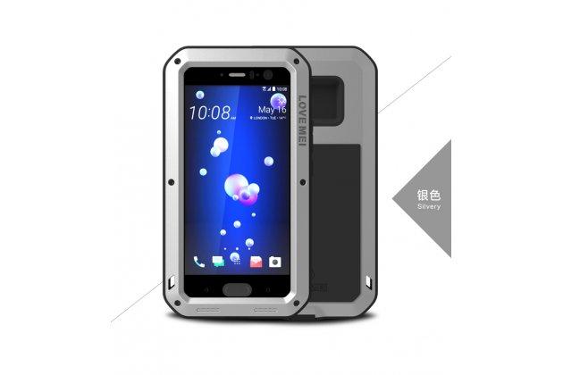 Неубиваемый водостойкий противоударный водонепроницаемый грязестойкий влагозащитный ударопрочный фирменный чехол-бампер для HTC U11 цельно-металлический со стеклом Gorilla Glass серебристый