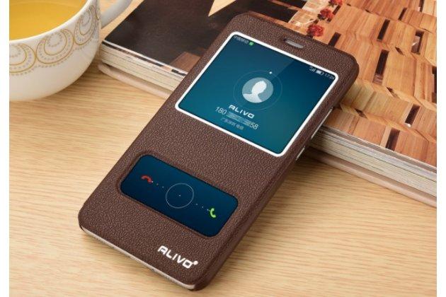 Фирменный чехол-книжка для Huawei Enjoy 7 Plus/ Y7 Prime коричневый с окошком для входящих вызовов и свайпом водоотталкивающий