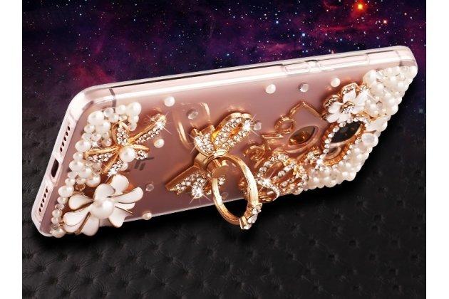 Фирменная роскошная элитная силиконовая задняя панель-накладка украшенная стразами кристалликами и декорированная элементами для Huawei Enjoy 7 Plus/ Y7 Prime прозрачная