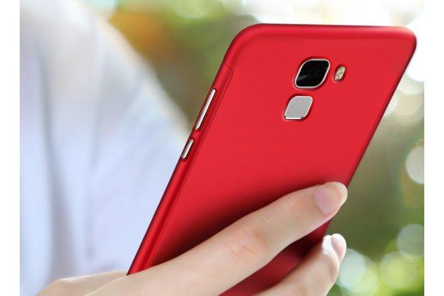 Фирменный уникальный чехол-бампер-панель с полной защитой дисплея и телефона по всем краям и углам для Huawei Enjoy 7 Plus/ Y7 Prime красный