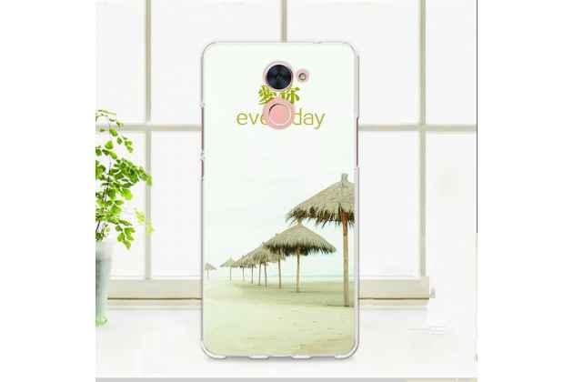 """Фирменная роскошная задняя панель-чехол-накладка из мягкого силикона с изображением на Huawei Enjoy 7 Plus/ Y7 Prime с безумно красивым рисунком """"Пляж"""""""
