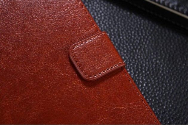 Фирменный чехол-книжка из качественной импортной кожи с подставкой застёжкой и визитницей для Huawei Enjoy 7 Plus/ Y7 Prime коричневый