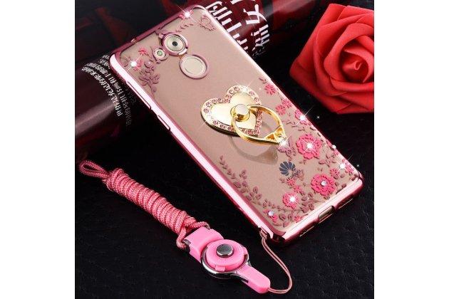 """Фирменная роскошная задняя панель-чехол-накладка из мягкого силикона с объемным 3D изображением и держателем на Huawei Enjoy 7 Plus/ Y7 Prime тематика """"Сердце"""" розовая"""