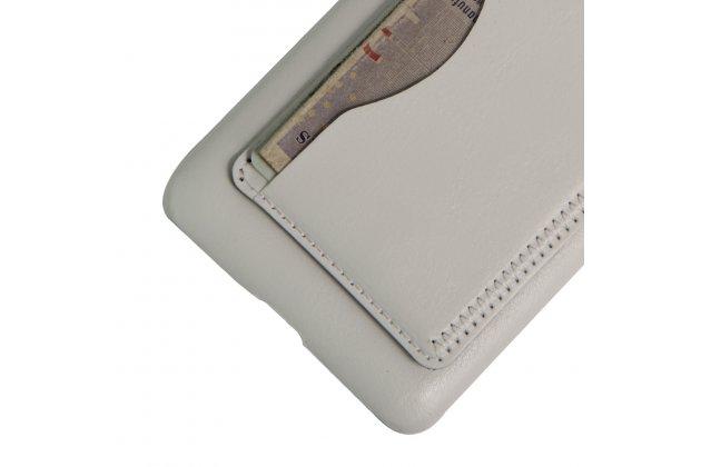 Фирменная роскошная элитная премиальная задняя панель-крышка для Huawei Honor 5A 5.0 ( LYO-L21) / Huawei Y5 2 (II) LTE из качественной кожи буйвола с визитницей белый