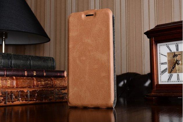 Фирменный оригинальный вертикальный откидной чехол-флип для Huawei Honor 5A 5.0 ( LYO-L21) / Huawei Y5 2 (II) LTE коричневый из натуральной кожи Prestige Италия