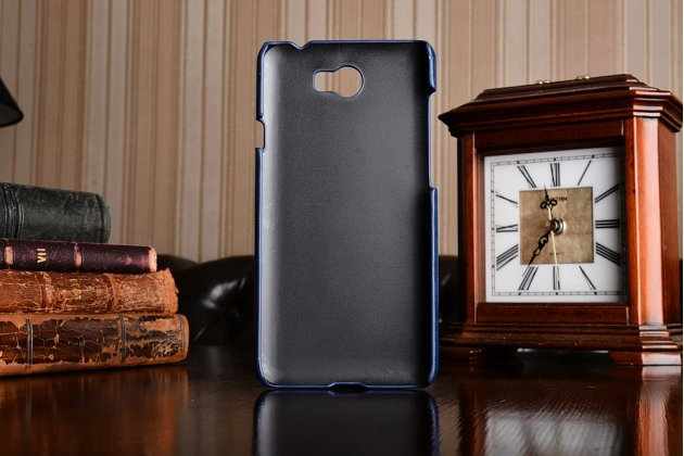 Фирменная роскошная элитная премиальная задняя панель-крышка для Huawei Honor 5A 5.0 ( LYO-L21) / Huawei Y5 2 (II) LTE  из качественной кожи буйвола с визитницей синяя