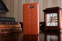 Фирменный чехол-книжка из качественной водоотталкивающей импортной кожи на жёсткой металлической основе для Huawei Honor 5A 5.0 ( LYO-L21) / Huawei Y5 2 (II) LTE коричневый
