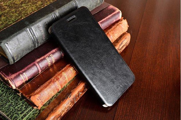 Фирменный чехол-книжка из качественной водоотталкивающей импортной кожи на жёсткой металлической основе для Huawei Honor 5A 5.0 ( LYO-L21) / Huawei Y5 2 (II) LTE черный