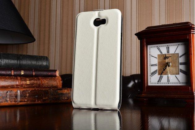 Фирменный оригинальный вертикальный откидной чехол-флип для Huawei Honor 5A 5.0 ( LYO-L21) / Huawei Y5 2 (II) LTE белый из натуральной кожи Prestige Италия