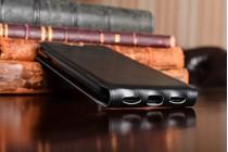 Фирменный оригинальный вертикальный откидной чехол-флип для Huawei Honor 5A 5.0 ( LYO-L21) / Huawei Y5 2 (II) LTE черный из натуральной кожи Prestige Италия