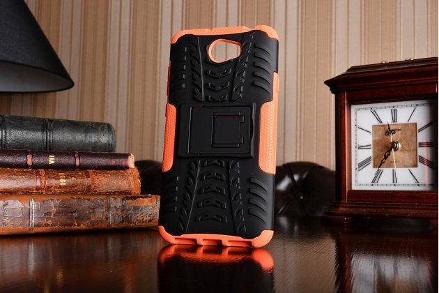 Противоударный усиленный ударопрочный фирменный чехол-бампер-пенал для Huawei Honor 5A 5.0 ( LYO-L21) / Huawei Y5 2 (II) LTE оранжевый