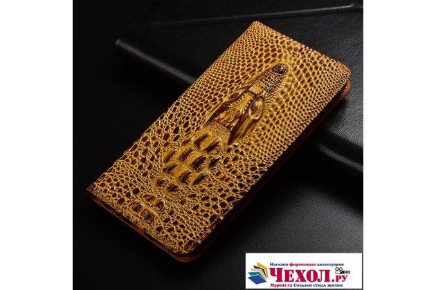 Фирменный роскошный эксклюзивный чехол с объёмным 3D изображением кожи крокодила коричневый для Huawei Honor 6A (DLI-TL20) . Только в нашем магазине. Количество ограничено