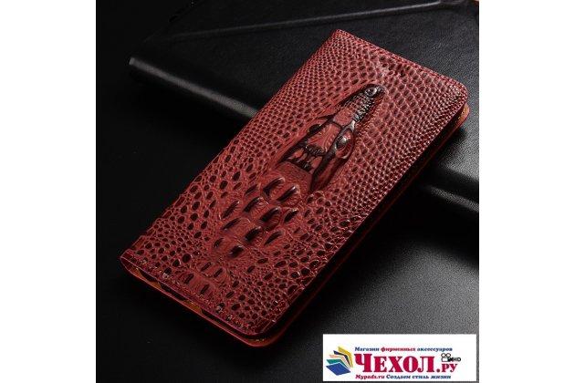 Фирменный роскошный эксклюзивный чехол с объёмным 3D изображением кожи крокодила цвет красное вино для Huawei Honor 6A (DLI-TL20)  Только в нашем магазине. Количество ограничено
