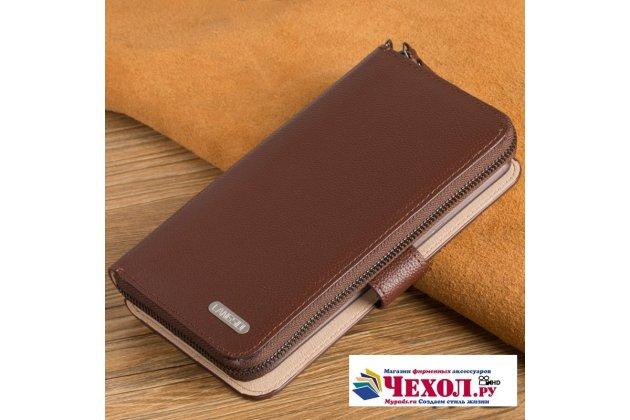 Фирменный чехол-портмоне-клатч-кошелек на силиконовой основе из качественной импортной кожи для Huawei Honor 6A (DLI-TL20) коричневый