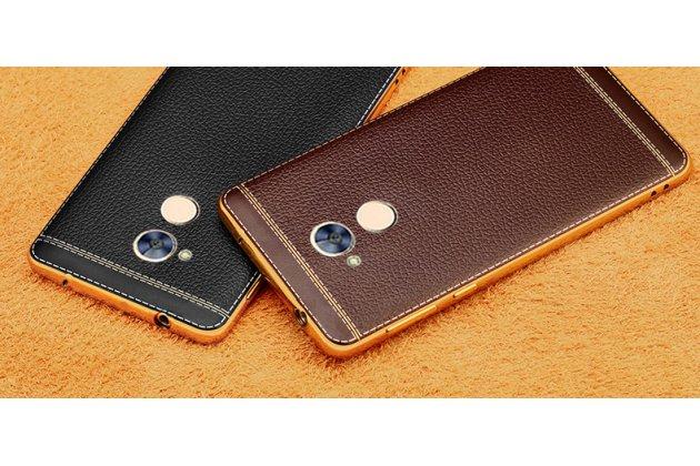 Фирменная премиальная элитная крышка-накладка на Huawei Honor 6A черная из качественного силикона с дизайном под кожу