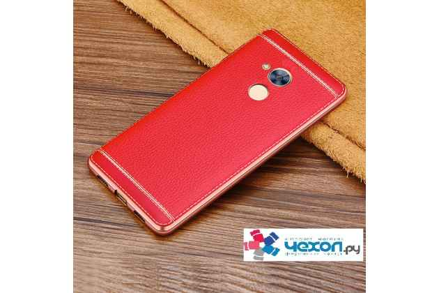 Фирменная премиальная элитная крышка-накладка на Huawei Honor 6A красный из качественного силикона с дизайном под кожу
