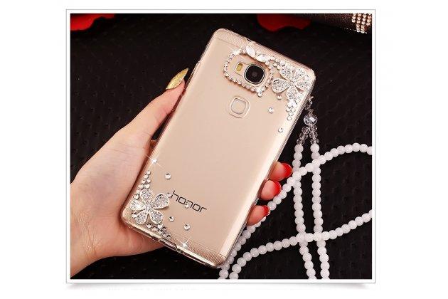 Фирменная роскошная элитная пластиковая задняя панель-накладка украшенная стразами кристалликами и декорированная элементами для Huawei Honor 6A