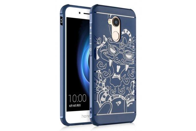 """Фирменная роскошная задняя панель-чехол-накладка из мягкого силикона с объемным 3D изображением на Huawei Honor 6A c с безумно красивым рисунком """"тематика чёрный Дракон"""""""