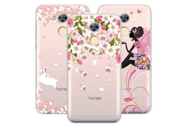 Фирменная роскошная задняя панель-чехол-накладка из мягкого силикона с объемным  3D изображением  на Huawei Honor 6A c с безумно красивым рисунком Тематика Куст цветов