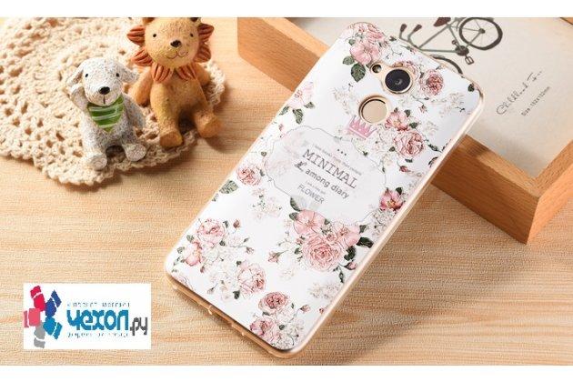 Фирменная уникальная задняя панель-крышка-накладка из тончайшего силикона для Huawei Honor 6A с объёмным 3D рисунком тематика Королевские цветы