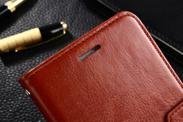 Фирменный премиальный элитный чехол-книжка из качественной импортной кожи с мульти-подставкой и визитницей для Huawei Honor 6A коричневый