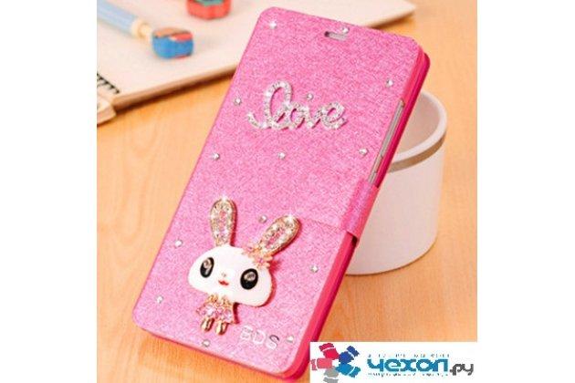 Фирменный роскошный чехол-книжка безумно красивый декорированный бусинками и кристаликами на Huawei Honor 6A розовый