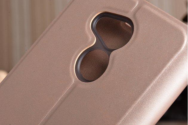 Фирменный чехол-книжка из качественной водоотталкивающей импортной кожи на жёсткой металлической основе для Huawei Enjoy 6S / Nova Smart 5.0/Huawei Honor 6C золотой