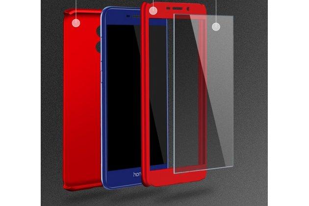 Фирменный уникальный чехол-бампер-панель с полной защитой дисплея и телефона по всем краям и углам для Huawei Honor 6C Pro / Huawei Honor V9 Play красный