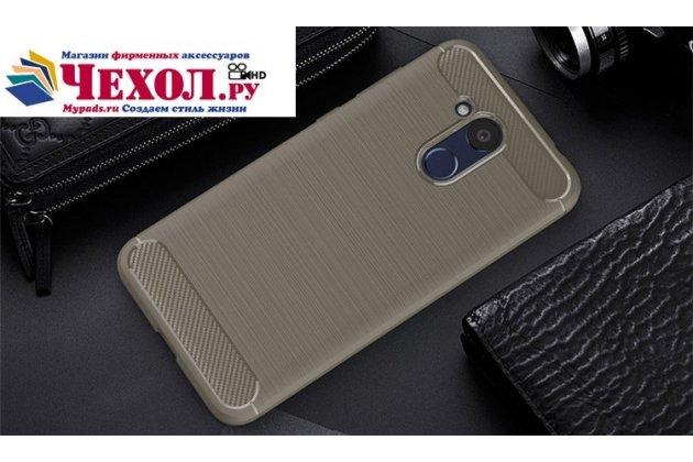 """Задняя панель-крышка из тончайшего и прочного силикона для Huawei Honor 6C Pro / Huawei Honor V9 Play с матовой отделкой """"под карбон"""" серая"""
